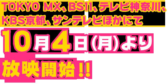 TOKYO MX、BS11、テレビ神奈川、KBS京都、サンテレビほかにて 10月4日より放映開始!!